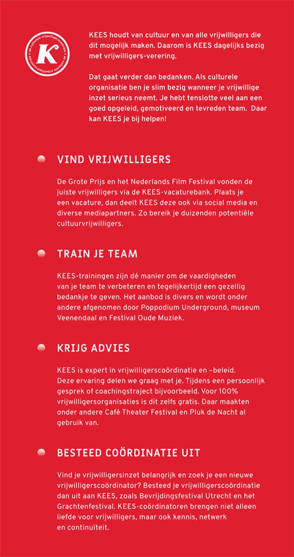 Flyer Bij KEES wezen in opdracht van cultuurvrijwilligersorganisatie KEES
